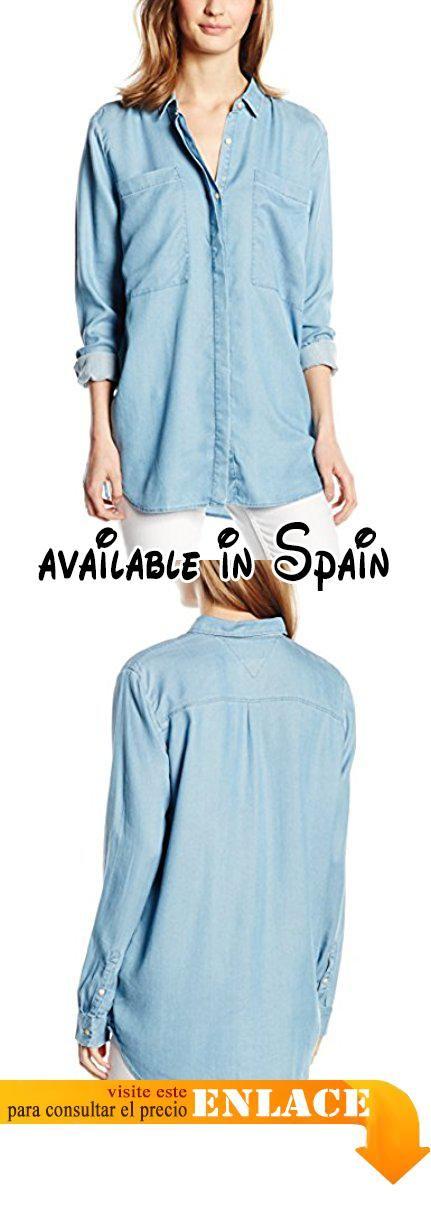 B0169120EM : TOMMY HILFIGER DENIM - Boyfriend Pocket L/S Shirt Dril Camisa De Pijama de mujer azul MD.