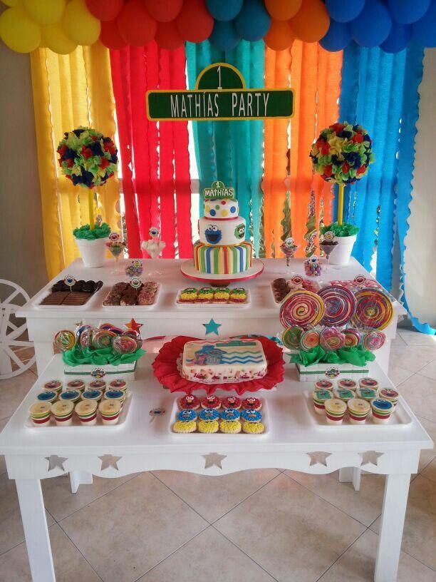Sesame Street Party Plaza Sesamo Cumplea 241 Os Numero Uno 1st