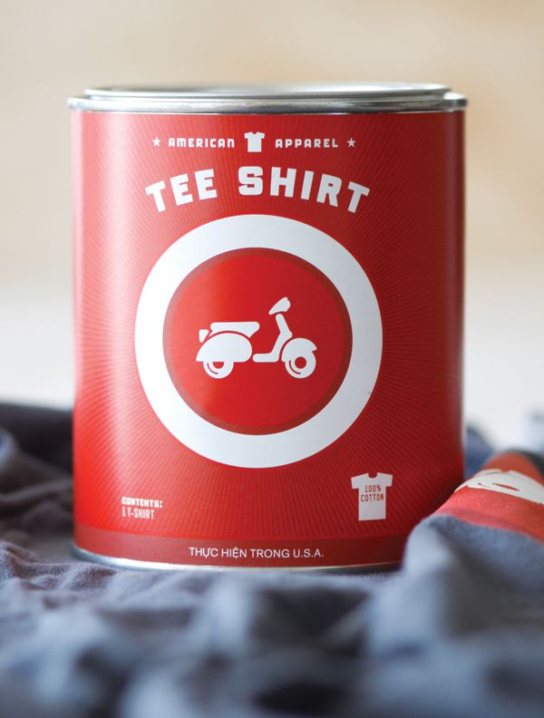 American Apparel T-shirt Can. If you want to customize your own t-shirt packaging, visit www.unifiedmanufacturing.com