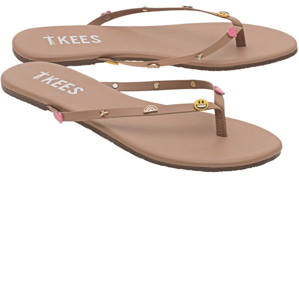 TKEES Lily Emoji Lol // Flat leather flip-flops (1300 MAD) ❤ liked on Polyvore featuring shoes, sandals, flip flops, summer flip flops, flat sandals, brown flip flops, flat shoes and leather flip flops