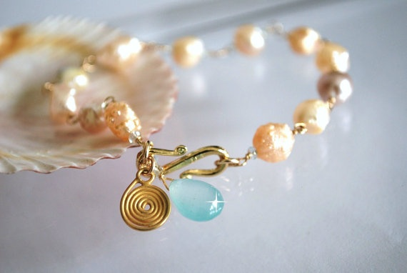 Baroque Peach Pearls Chalcedony  drop summer by ChaninBijoux, $86.00