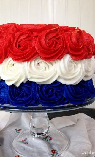 patriotic rose cake  www.tablescapesbydesign.com https://www.facebook.com/pages/Tablescapes-By-Design/129811416695