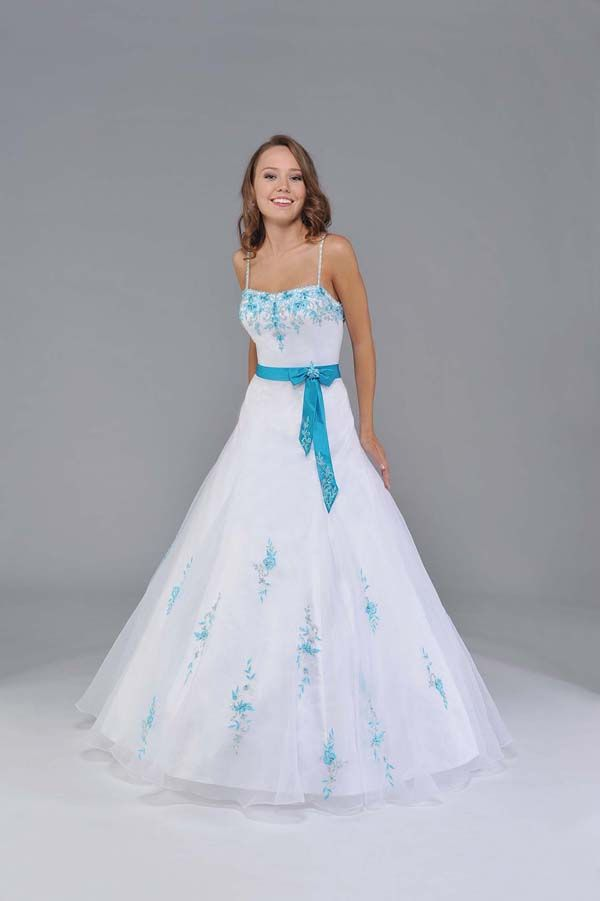White and Turquoise A-Line Spaghetti Straps Low Back and Zipper Floor Length Quinceanera Dresses With Embroidery and Sash
