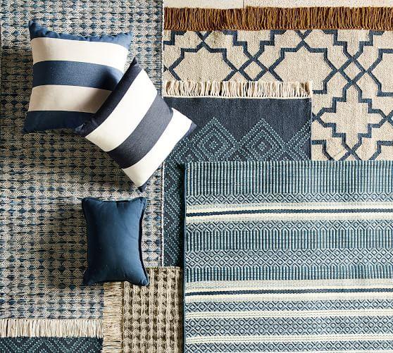 Oden Eco Friendly Indoor Outdoor Rug Blue Tapis Jute Tapis