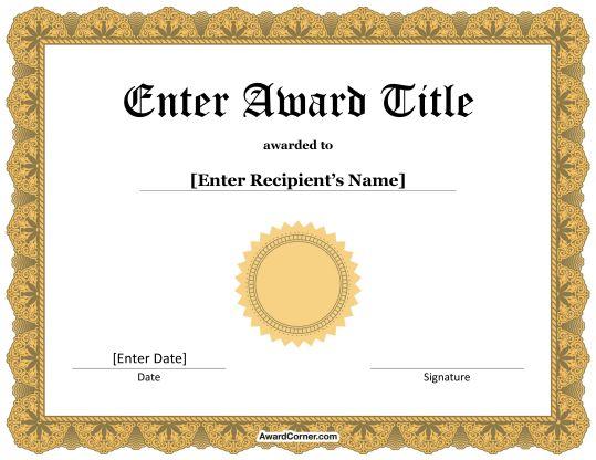 20 best Certificate Templates at AwardCorner images on - microsoft certificates templates
