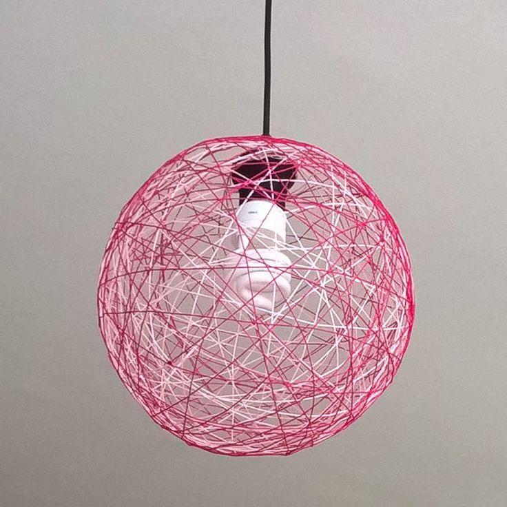 Pink yarn lamp