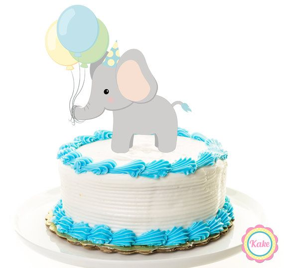 Baby shower cake topper elephant animal safari by ConfettiKake