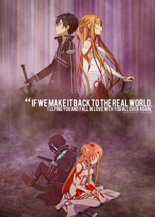 "The characters Kirito and Asuna, from the series ""Sword Art Online."" >> This is completely one of the best ""awww!"" moments in the anime. =)"