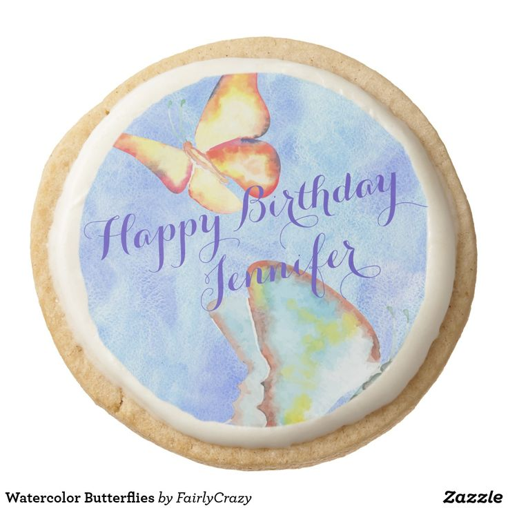 Watercolor Butterflies Birthday Party Shortbread Cookie - personalize the name. #yummy #partyfood #yummypartyfood #beautifulpartyfood