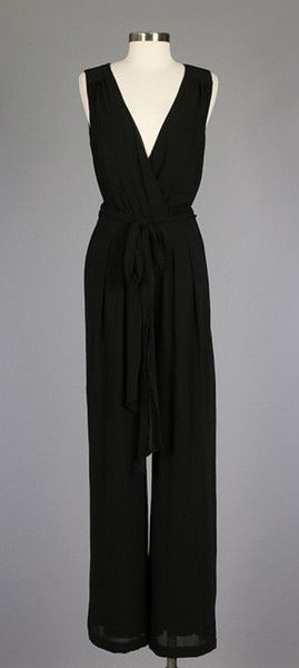 Beautiful wide leg jumpsuit features a self tie waist and v-neck front. This jumpsuit is a wardrobe must have and can be worn any season! 100% Polyester