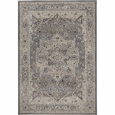 Traditional, geometric patterned 'Grey Geo Antares' rug
