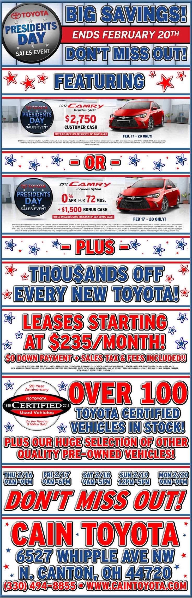 Stop in this weekend and check out our Presidents' Day Sales Event! (OPEN SUNDAY 12PM-5PM!) (Post Date 2/17/2017)