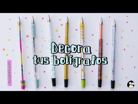 #vídeo #tutorial #Decorar #bolígrafos. #Manualidades para el #regreso a #clases. Cómo #decorar #material #escolar, #útiles #escolares.  #Ideas #DIY #plumas #lapiceros #lápices #bolis #bic
