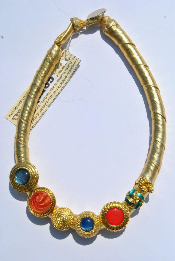 Statement necklace golden textile with vintage di comivishop