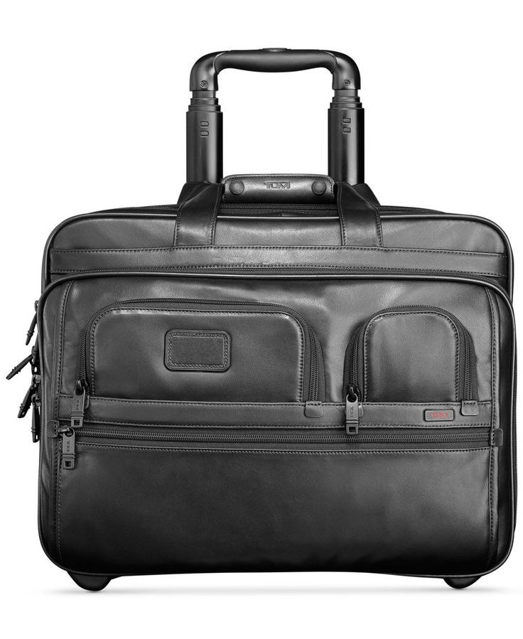 Tumi Alpha 2 Deluxe Leather Rolling Laptop Briefcase