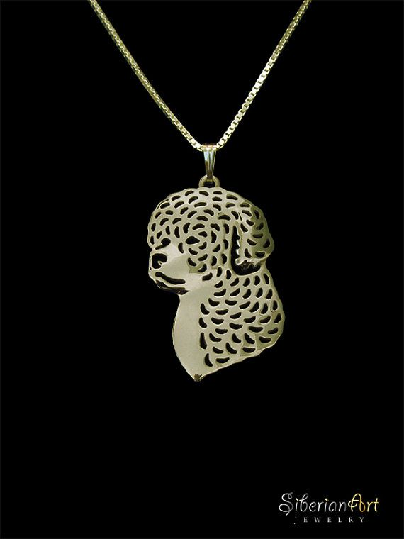 Lagotto Romagnolo  gold pendant and by SiberianArtJewelry on Etsy