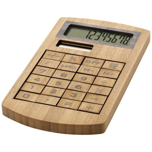 Calculator din bambus Eugene. #Calculator #ecologic din #bambus Eugene, calcul cu 8 cifre si taste din #lemn. Functioneaza cu energie solara si are un design deosebit. Dimensiuni: 13,6 cm x 1 cm x 7,6 cm. Prin #personalizare cu #logo-ul dvs., calculatorul de buzunar devine un articol #promotional prin care puteti transmite grija companiei fata de protectia mediului.