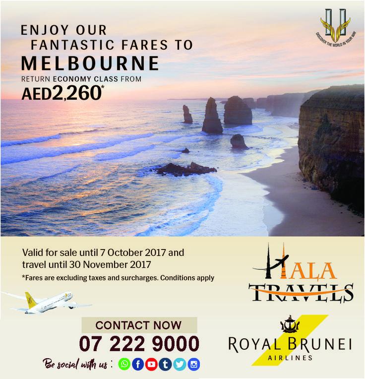 Fantastic Fares to Melbourne !!! Royal Brunei Airlines Contact Now :- 0 7 2 2 2 9 0 0 0 #rasalkhaima #uae #dubai #melbourne #rak #halatravels