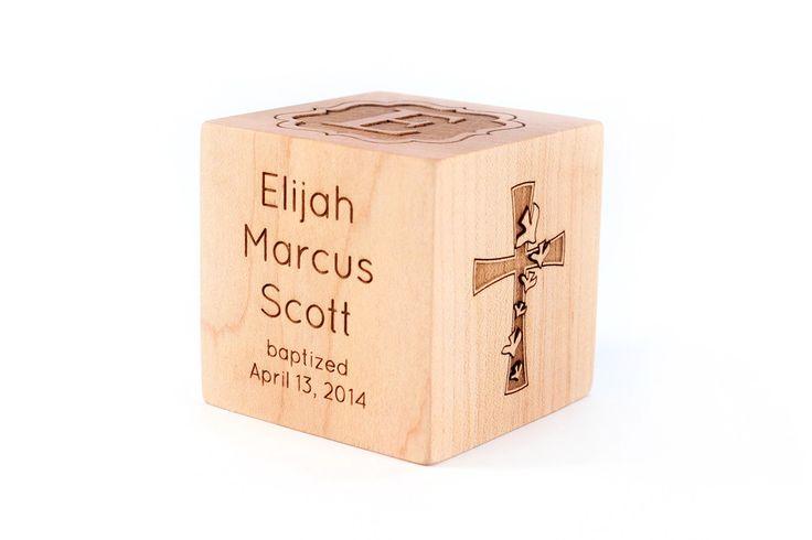 personalized baptism baby keepsake gift block