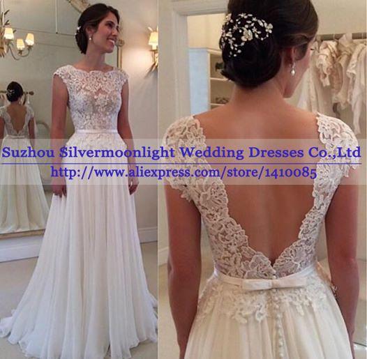Vestidos de noivas simples vestidos de casamento Backless Lace praia vestido de noiva elegante vestido de casamento em Vestidos de noiva de Casamentos e Eventos no AliExpress.com | Alibaba Group