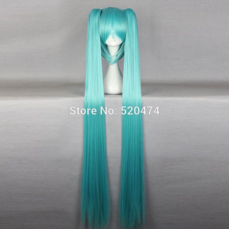 "Top Wig 2015 Queen Hair 130cm 51"" Miku Cos Split Wig Hatsune Miku + 2 Clip On Ponytail Cosplay Hot Selling Heat Resistent Wigs"