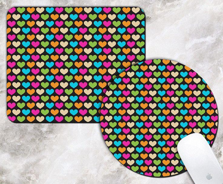 Colorful Hearts Mouse Pad - 80s Pattern - Retro 80s Art - Rectangular Mousepad - Round Mousepad - Heart Mousepad - Office Deco - Desk Decor by RegalosOnline on Etsy
