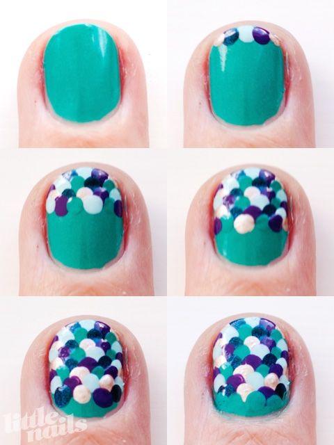 Overlapping polka dot nails: Nails Art, Nailart, Rainbows Fish, Mermaid Nails, Fish Scale, Mermaids Tail, Mermaids Nails, Nails Tutorials, Mermaids Scale