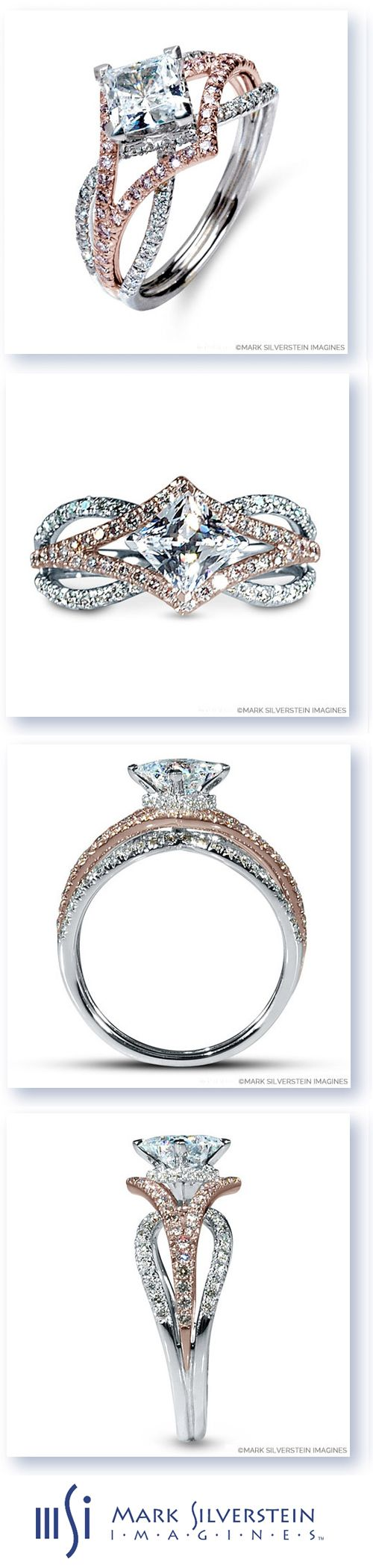 This edgy 18K white and rose gold engagement ring features pavé-set pink and white diamonds on a three-strand crossover design. The middle strand sweeps out on either side of the framed center stone to create a diamond-shaped convergence. This high polish ring is destined for a celebration of epic proportions. Mark Silverstein Imagines Avea diamond ring