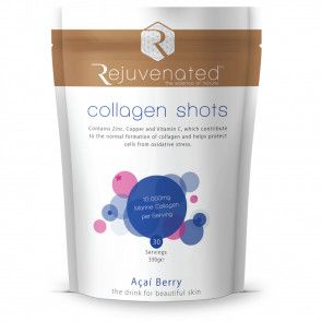 Rejuvenated Collagen Shots 10,000 mgs marine collagen (fresh water white fish), hyaluronic acid, acai berry super antioxidant, combined with vitamin B3, B5, C with zinc and copper. Boost levels of peptide rich amino acids and improve the skin's tone and texture with Collagen Shots active ingredients.  Reduce the appearance of tell tale signs of ageing