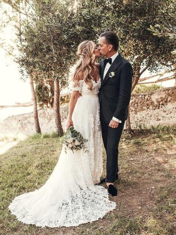 Off Shouder Short Sleeves Mermaid Cheap Wedding Dresses Online, Cheap Lace Bridal Dresses, WD439