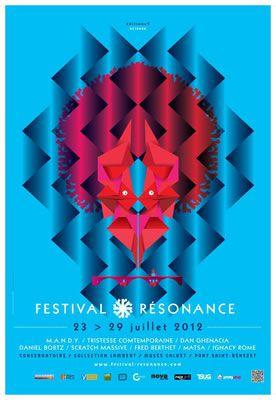 Festival Résonance 2012 Nous nous sommes inspirés de cette affiche pour créer l'affiche des cafés-concerts car elle a des couleurs vives et des formes géométriques qui donnent un côté jeune et dynamique.