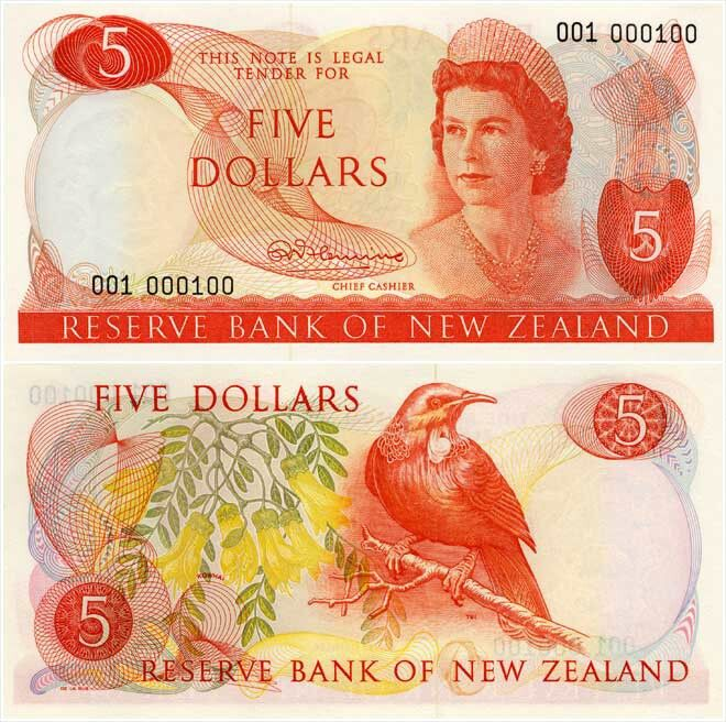 Old New Zealand Five Dollar Note front & back