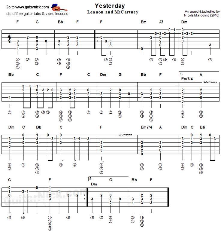 Easy Beatles Songs On Guitar Chords