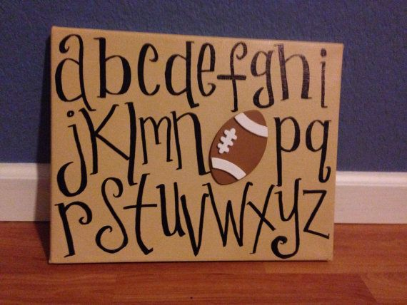 Handmade Boys Room Alphabet and Sports Wall Art, Custom painted for You on Etsy, $18.00
