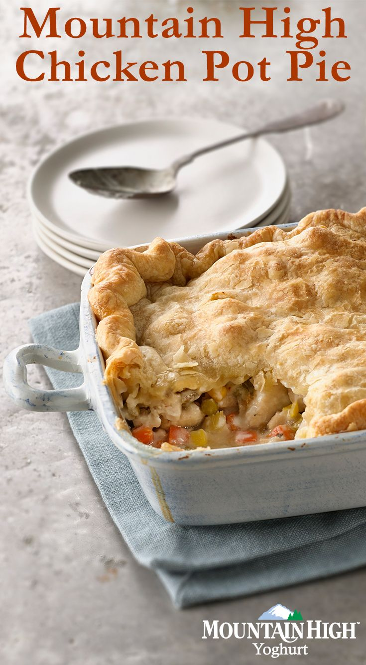Chicken Pot Pie made with yogurt!? Trust us on this one. Click through to our website for instructions :) / Ingredients: -2 tbsp. olive oil -1/2 cup chopped onions -1/4 cup chopped celery -1 clove garlic -4 chicken breasts cut into 1/2-inch pieces -1/4 tsp. pepper -1/2 tsp. poultry seasoning -2 tbsp. heavy whipping cream  -2 tbsp flour -1/4 cup vegetable broth -1 1/2 cups Mountain High original plain yoghurt -2 cups mixed vegetables -18 oz of puff pastry
