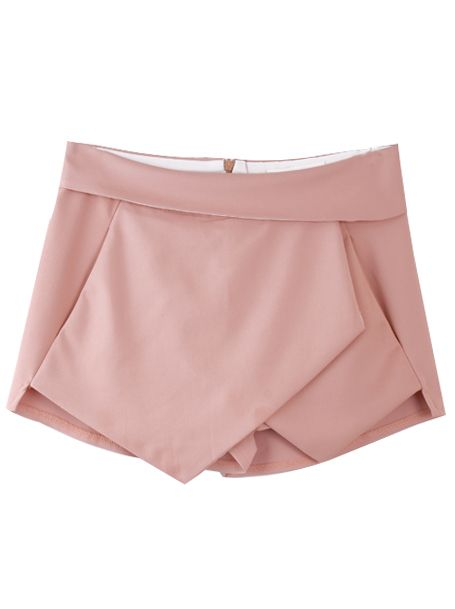 Pink Asymmetrical Geometric Pockets Shorts