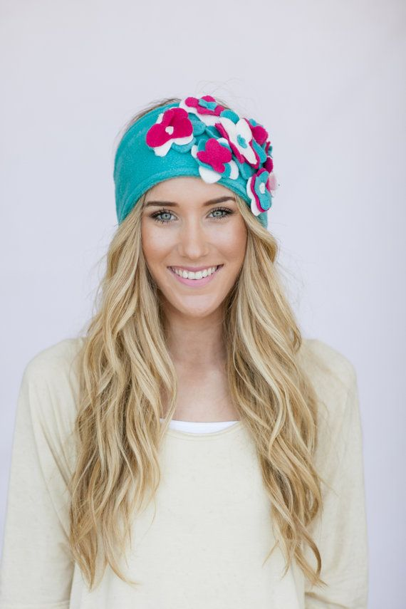 Fleece Floral Headband Ear Warmer with Flowers Adjustable Winter Head Wrap (Aqua Pink White)