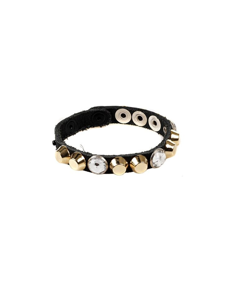 81 CARATI Black leather bracelet with gold studs and crystals clip closure