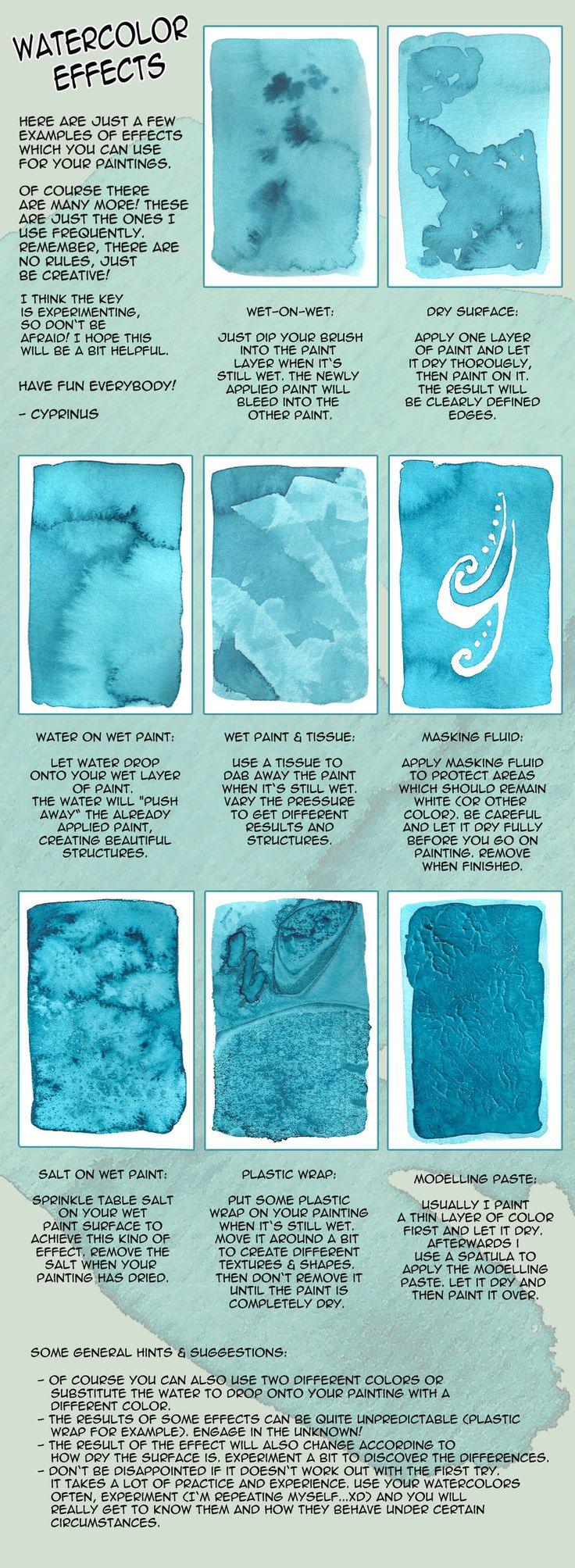 Various watercolor effects,  by cyprinusfox   #art #journal