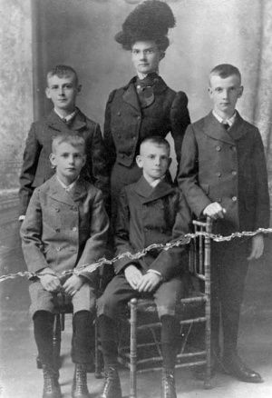 A 1902 photo , taken in New York, of Agnes Wagner and her four brothers before she put them on an orphan train to Nebraska. William, 14, Agnes, 26, Wesley, 13, Earnest, 10 and Arthur, 12. There is a story here.
