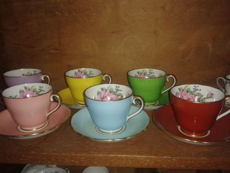 Adderley Bone China Harlequin Tea Set 0n sale on ebay now.
