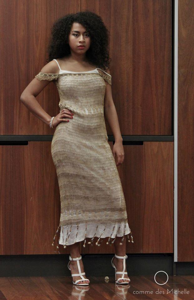One of the intricately handmade 'bilum' dresses by Sharon Brissoni.