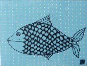 LAURA LEITA Illustrazioni / Disegni : pesce in un mare di pois