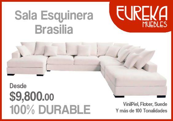 Sala #esquinera brasilia adquiera en http://www.eurekamuebles.com.mx/salas-esquineros/salas-esquineras/sala-esquinera-brasilia.html #muebles #casa #hogar #armonía #decoración #Familia #15deSeptiembre