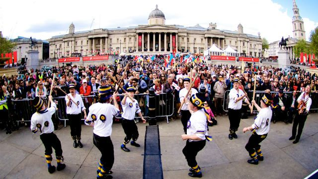 London celebrates St George's Day with a day of free activities, English food children's games and more at the Feast of St George in Trafalgar Square. 22 Apr