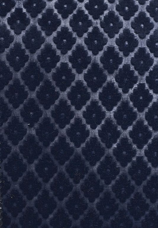 Cassandre Velvet Damask  Embossed Navy Blue velvet upholstery fabric with small geometric design. Suitable For Contract Curtains and Upholstery.
