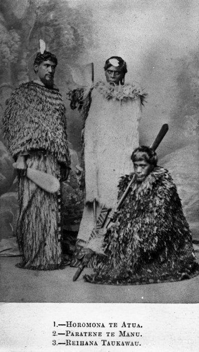 Vernon Heath (England) fl 1819-1895: Portrait of Horomona Te Atua, Paratene Te Manu and Reihana Te Taukawau.