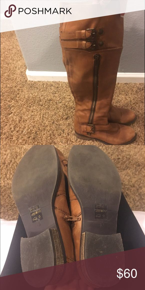 Steve Madden real leather boots Size 8 knee high flat leather boots Steve Madden Shoes Over the Knee Boots