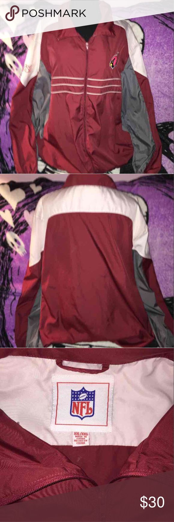 NFL Arizona Cardinals windbreaker Can be unisex but was purchased as mens NFL official  100% polyester  Full zip up Red,gray & white In great condition  No visual flaws NFL Jackets & Coats Windbreakers