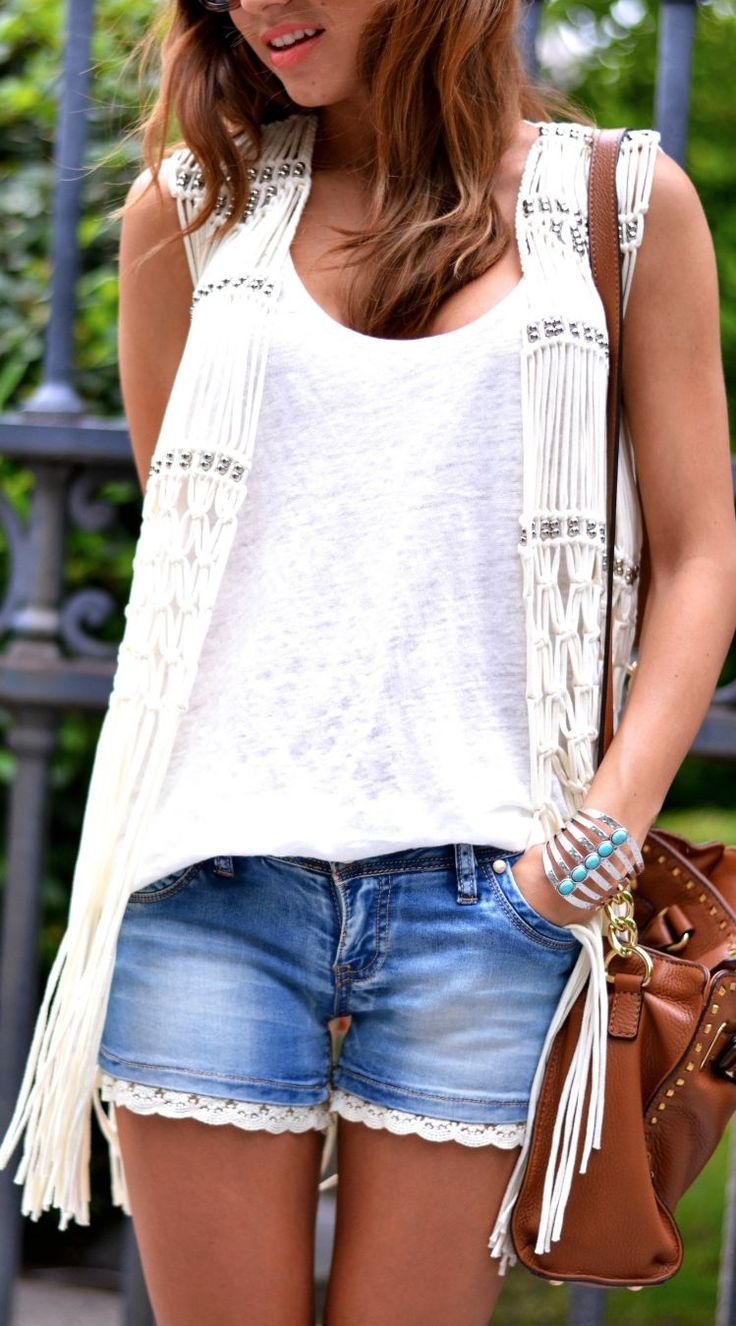 ☮ ßoho ßabe • The Must Box white fringe vest + trim shorts
